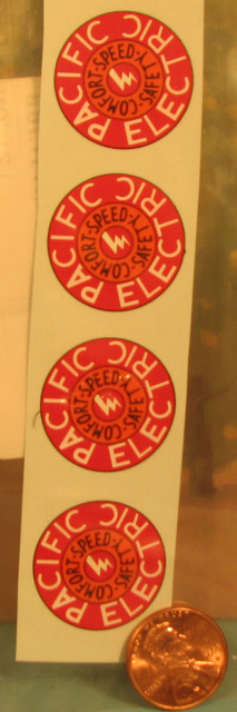 "#121 Decal, Pacific Electric, 15/16"" dia. (4)"