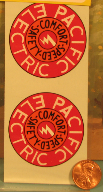 "#122 Decal, Pacific Electric,  7/8"" dia. (2)"